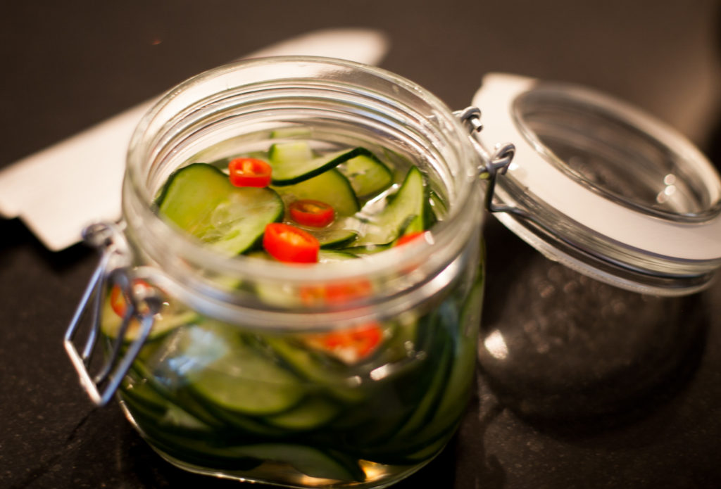 The vinegar and the sweetner (or sugar) gives the cucumbers a great sweet and sour taste that is great with chicken